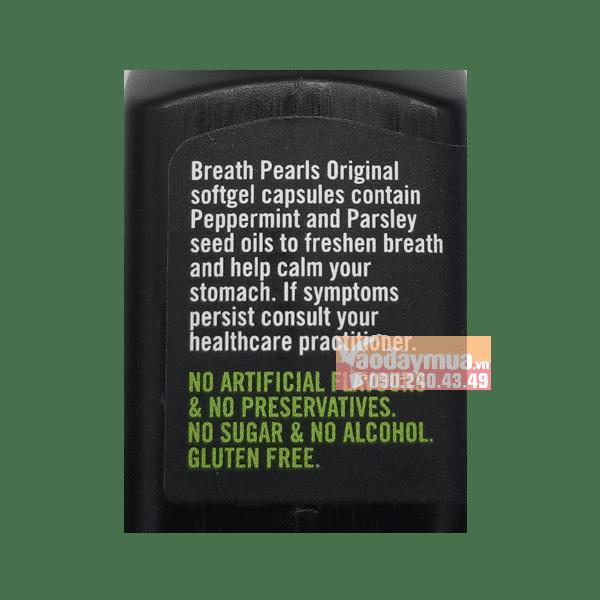 Thành phần không chứa hóa chất trong viên uống ngậm thơm miệng Breath Pearls của Úc