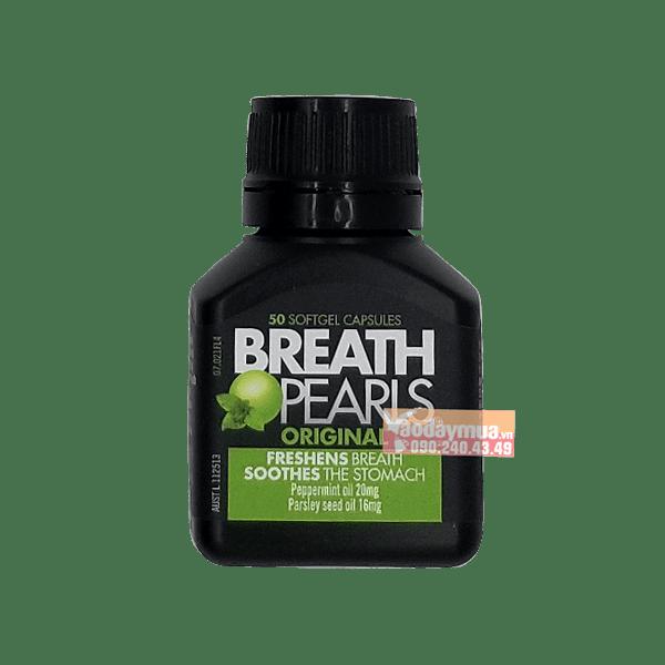 Hình ảnh tổng thể của viên uống thơm miệng Breath Pearls 50 viên của Mỹ