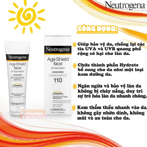 Công dụng đặc biệttừ kem chống nắng chống lão hóa Neutrogena Age Shield Face SPF 110 Mỹ
