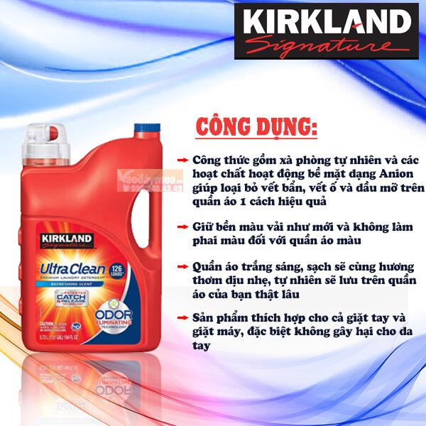 Công dụng hiệu quả từ nước giặt xả Ultra Clean Kirkland