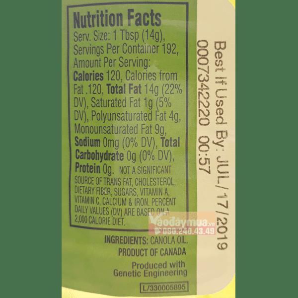 Thành phần dinh dưỡng in trên Dầu hạt cải Kirkland Canola Oil 2,84l của Mỹ