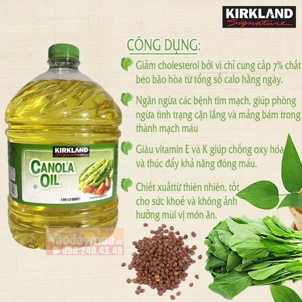 Công dụng hiệu quả từ Dầu hạt cải Kirkland Canola Oil 2,84l của Mỹ