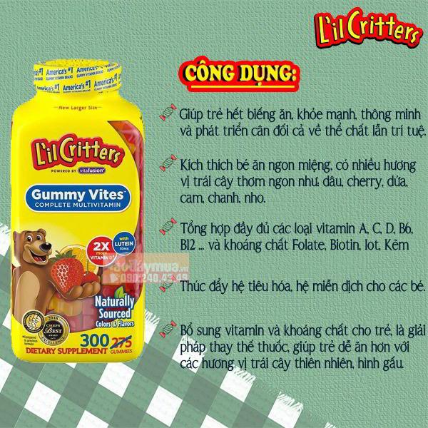 Công dụng chính từ kẹo dẻo vitamin LilCritters Gumy Vites cho trẻ 300 viên của Mỹ