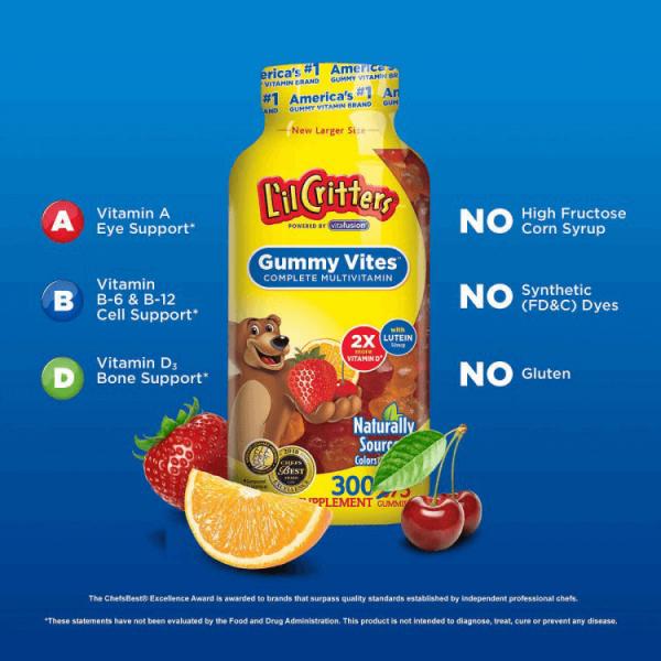 Thông tin chi tiếtKẹo dẻo vitamin LilCritters Gumy Vites cho trẻ 300 viên của Mỹ
