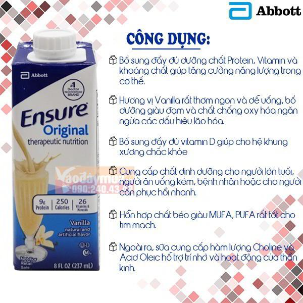 Sữa Ensure nước (hộp giấy) mẫu mới 237ml 1 thùng 24 hộp của Mỹ ...