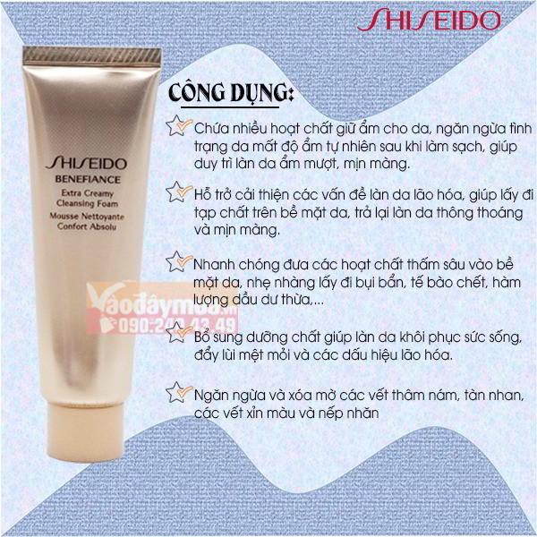 Công dụng chính từ sữa rửa mặt Shesido của Nhật