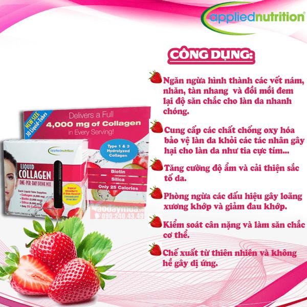 Công dụng chính củanước uống collagen làm đẹp da Liquid Collagen Easy To Take Drink Mix Mỹ