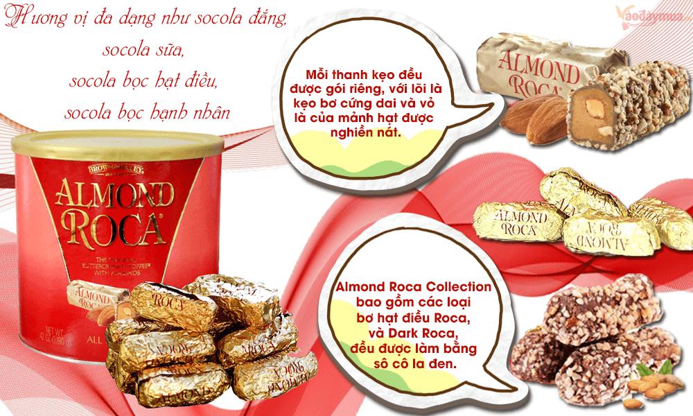Cảm nhận từng hương vị có trong kẹo chocolate bọc hạt nhân Almond Roca của Mỹ
