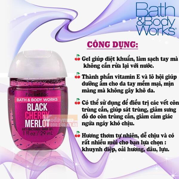 Công dụng chính có trong gel rửa tay khô Bath & Body Works của Mỹ