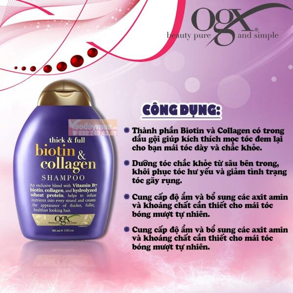 Công dụng chính từ dầu gội biotin & Collagen của Mỹ