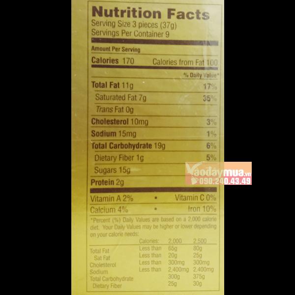 Hàm lượng dinh dưỡng có trongHộp kẹo Chocolate Godiva Goldmark của Mỹ