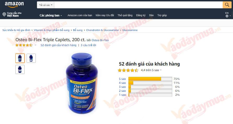 Review viên uống trị đau nhứcOsteo Bi – Flex Triple Strength trên trang Amazon