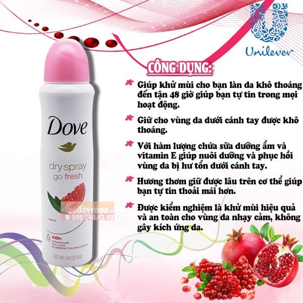 Công dụng chínhcủa Xịt khử mùi nữ Dove hạt lựu của Mỹ