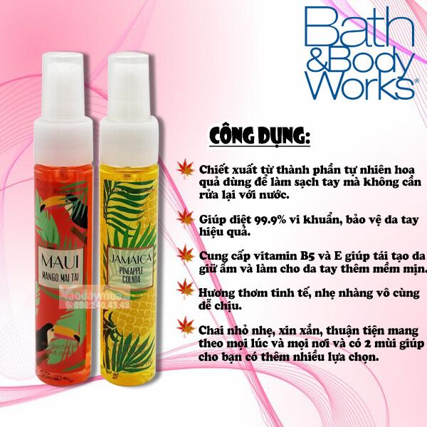 Công dụng chính củaxịt rửa tay khô Bath & Body Works Anti Bacterial Hand Spray của Mỹ