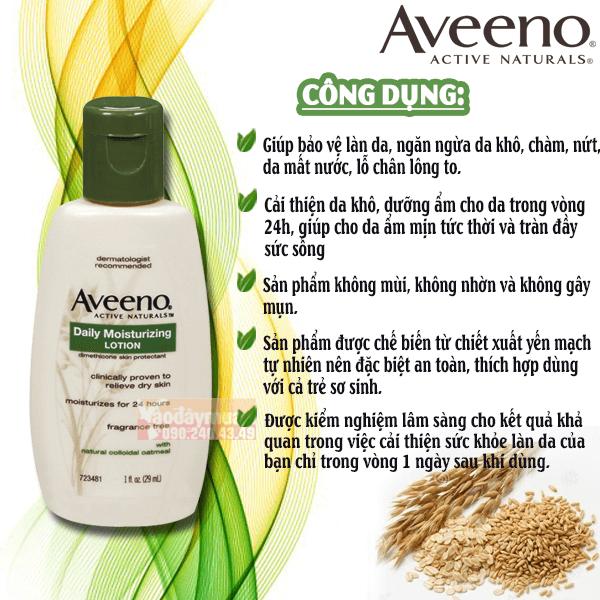 Công dụng chính có trongKem dưỡng thể tinh chất yến mạch Aveeno Daily Moisturizing Lotion