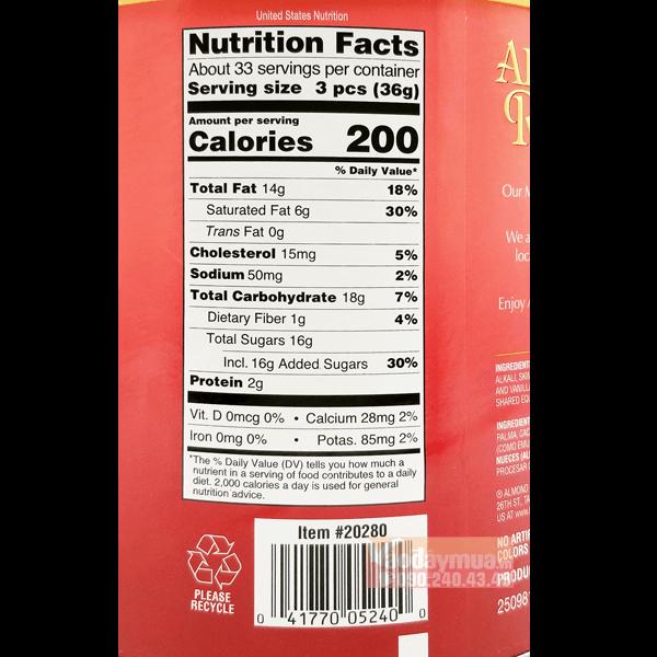 Hàm lượng dinh dưỡng có trong bánh phủ chocolate hạt nhânAlmond Roca của Mỹ