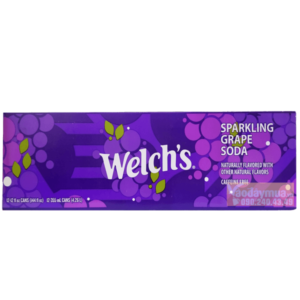Hình ảnh tổng thể nước ngọt nho Welch's Sparkling Grape Soda của Mỹ