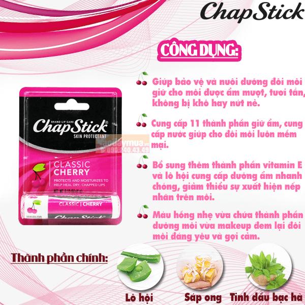 Công dụng chínhcủaSon dưỡng môi cherry có màu Chapstick Classic Cherry