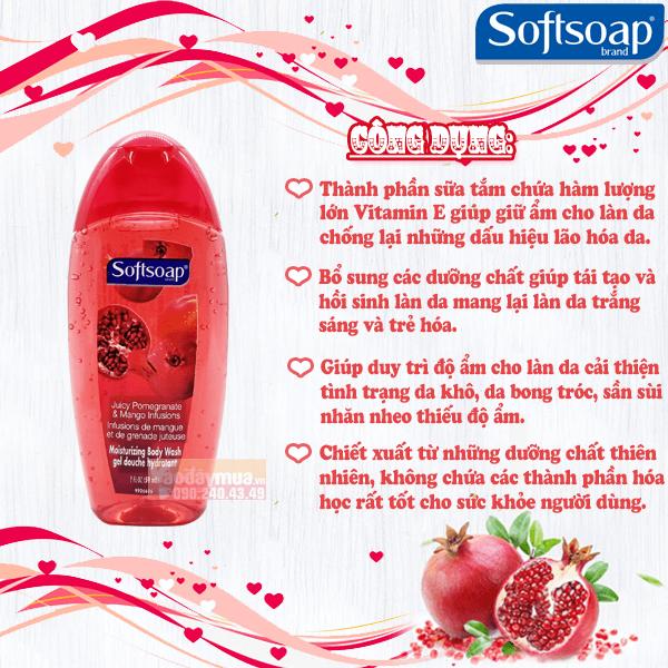 Công dụng chính có trong sữa tắm hạt lựu Softsoap của Mỹ