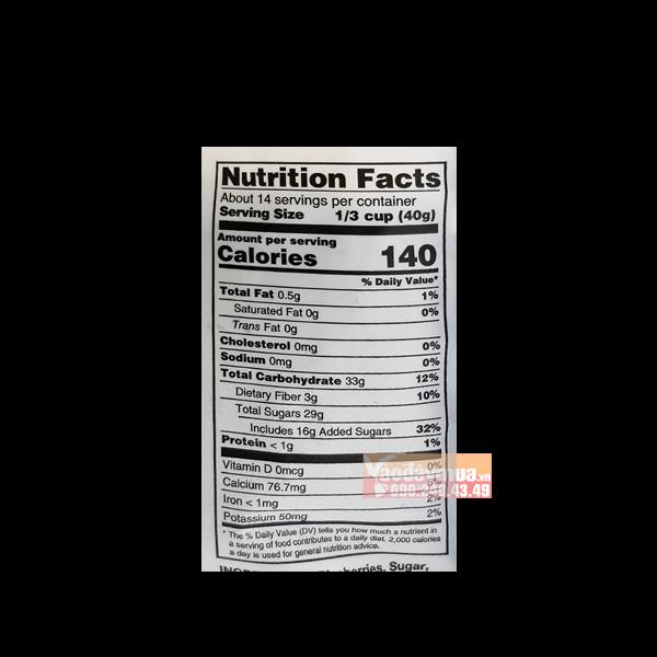 Hàm lượng chất dinh dưỡng có trong qủa việt quất Kirkland Organic Blueberries