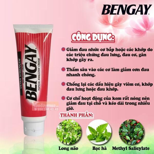 Công dụng chính kem xoa bóp giảm đau Bengay