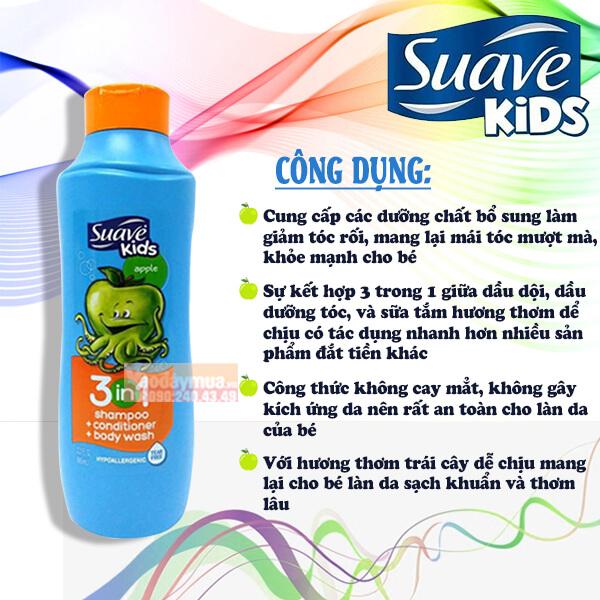 Công dụng chính từ dầu gội, xả + sữa tắm suave kid 3 in 1 dành cho trẻ em Mỹ