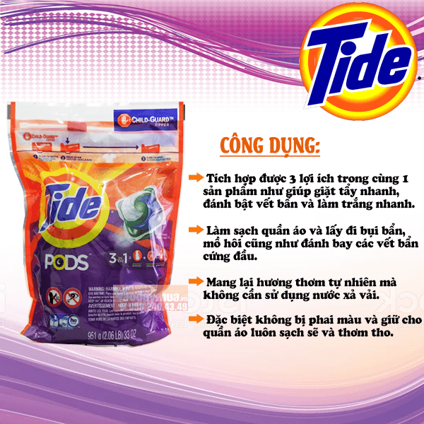 Công dụng chính của Viên giặt Tide Pods 42 viên của Mỹ