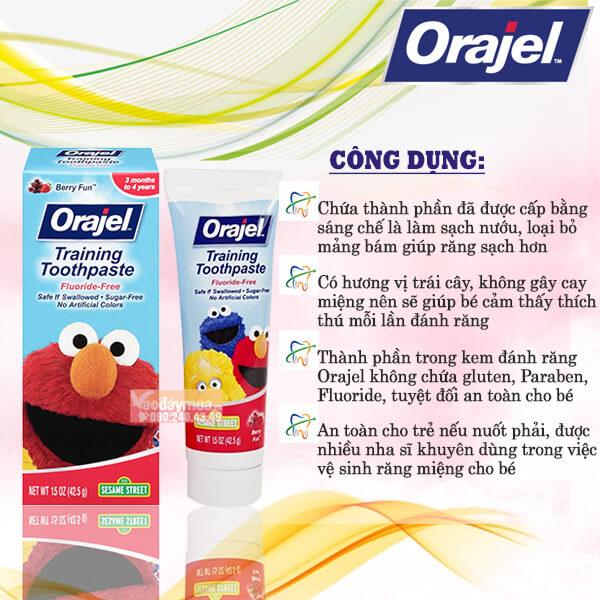 Công dụng của kem đánh răng Orajel Training Toothpaste của Mỹ