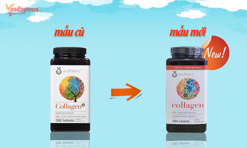 Phân biệtviên uống collagen chống lão hóa Youtheory Type 1 2 & 3 mẫu mới và mẫu cũ