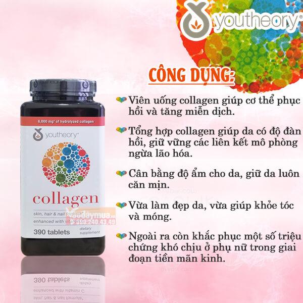 Công dụng của viên uống Collagen Chống Lão Hóa Youtheory Type 1 2 & 3 390 Viên