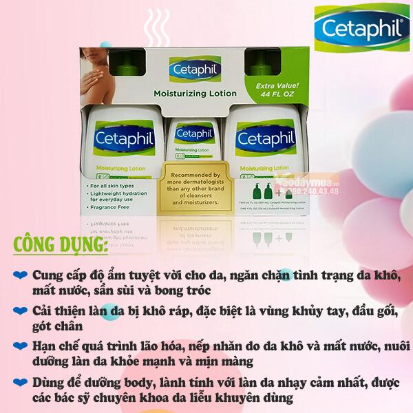 Công dụng của Set sữa dưỡng ẩm Cetaphil Moisturizing Lotion 591ml X2 118ml