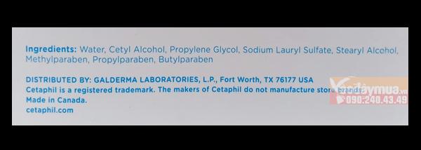 Thành phần đặc biệt có trong sữa rửa mặt Cetaphil của Canada