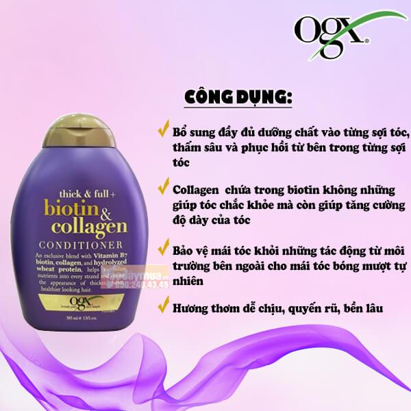 Công dụng chính dầu xả Biotin & Collagen của Mỹ