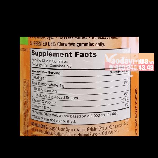 Thành phần dưỡng chất Kẹo dẻo Vitamin C Kirkland Adult Gummies C 250mg