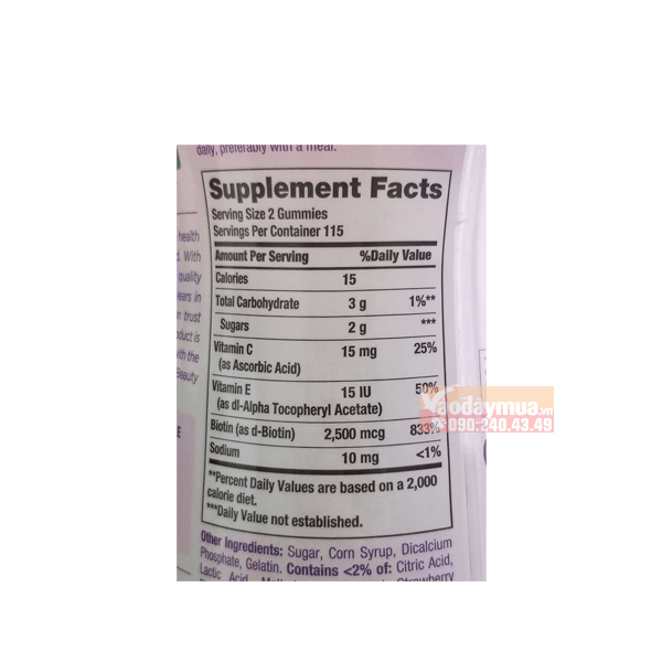 Thành phần dưỡng chất có trongkẹo dẻo Hair Skin & Nails Gummies Mỹ