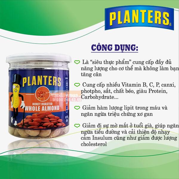 Công dụng tuyệt vời tẩm mùi vị tổng hợp Planters Whole Almond của Mỹ