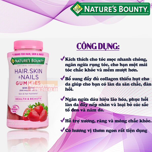 Công dụng chính từ Kẹo dẻo làm đẹp da móng và tóc Nature's Bounty Hair Skin & Nails Gummies