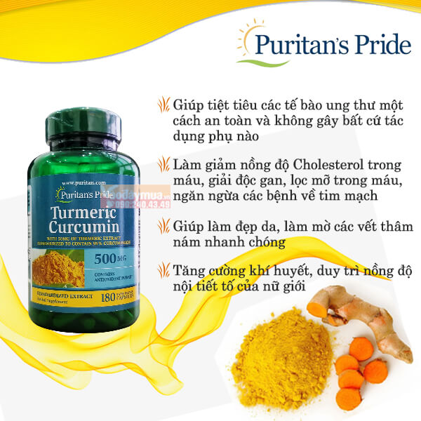 Công dụng đặc biệtviên uống tinh chất nghệ vàng Puritan's Pride Turmeric Curcumin 500mg