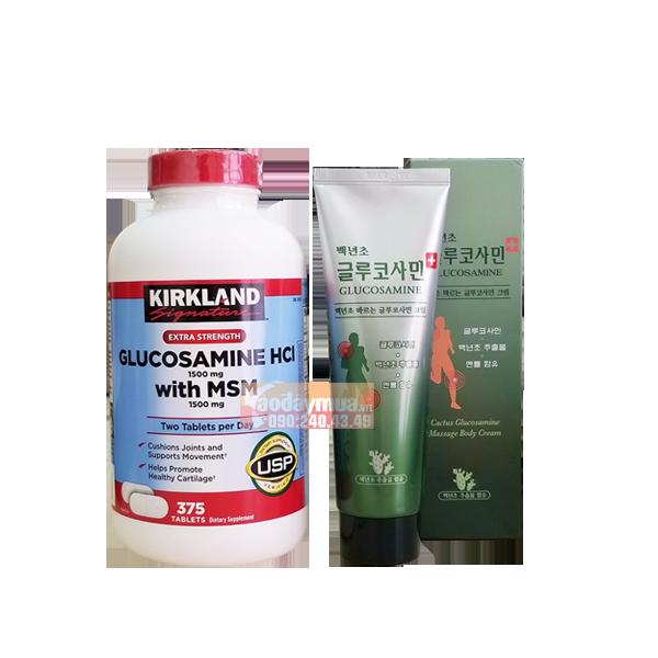Combo viên bổ xương khớp Glucosamine HCL With MSM 1500MG Kirkland và Dầu lạnh xoa bóp Glucosamine
