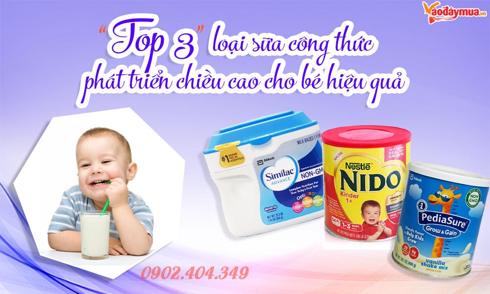 Top 3 sữa công thức giúp bé phát triển chiều cao vượt trội