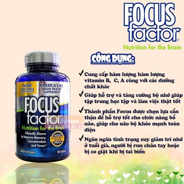 Công dụng của viên uống vitamin bổ não và giảm stress Focus Factor Nutrition For The Brain