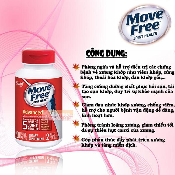 Công dụng chính củaViên bổ khớp Move free Glucosamine của Mỹ