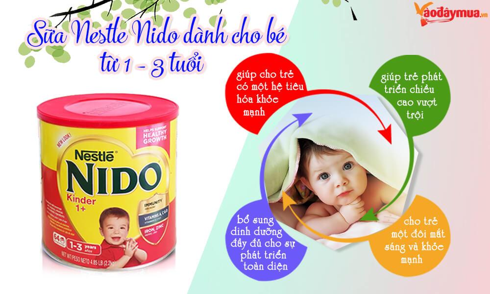 Công dụng của sữa Nido nắp đỏ dành cho bé từ 1 - 3 tuổi