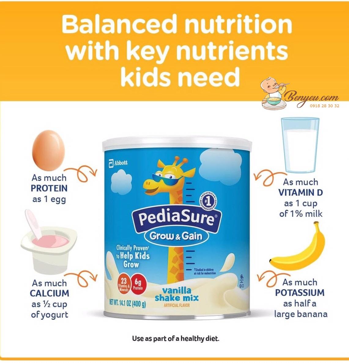 Sữa pediasure chứa nguồn dinh dưỡng hơn các thực phẩm hằng ngày