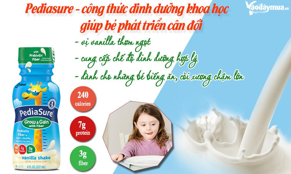 Sữa pediasure nước chống táo bón và giúp bé ăn ngon miệng hơn