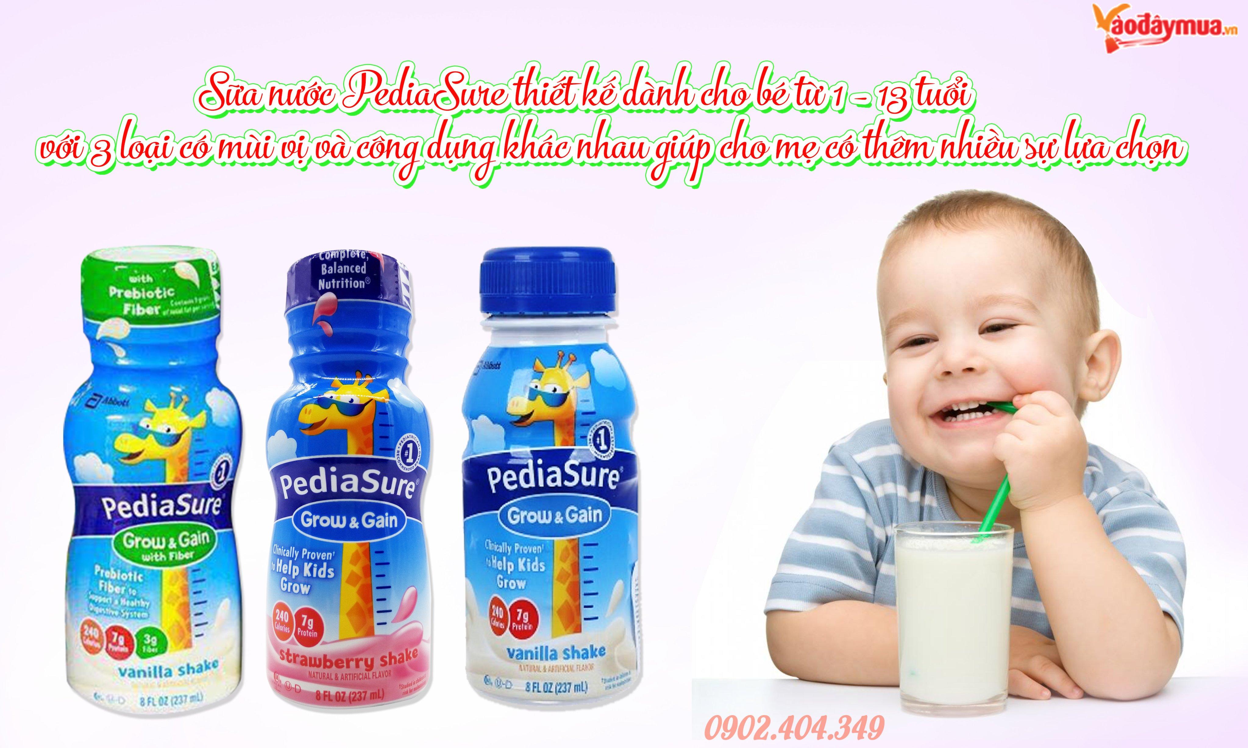 Sữa pediasure nước có 3 loại giúp cho bé có thêm nhiều lựa chọn khi uống