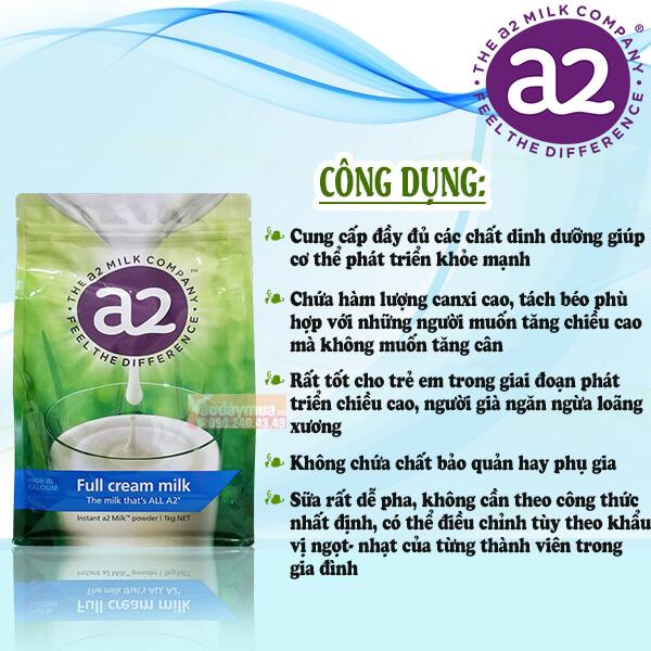 Công dụng của Sữa Tươi Dạng Bột nguyên kem A2