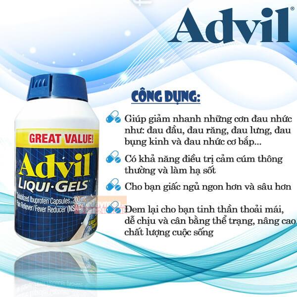 Công dụng viên uống giảm đau giúp ngủ ngon Advil Liqui - gels