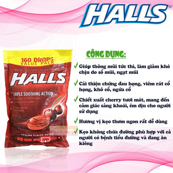 Công dụngKẹo ngậm trị ho đau họng vị cherry Halls Triple Soothing Action