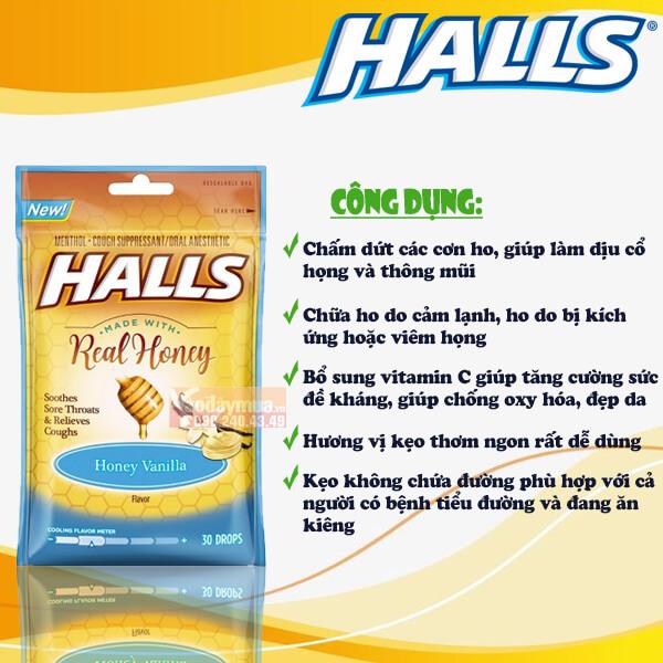 Công dụng của kẹo vị vanilla mật ong HALLS của Mỹ